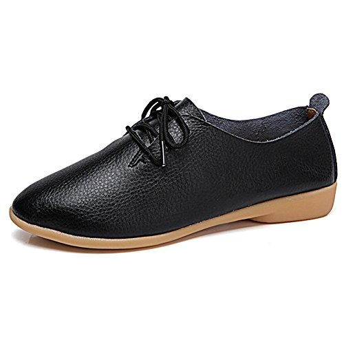 Oxford Leather Shop - Temofon Women's Leather Flats Lace up Flat Loafers Driving Shoes Oxford Moccasins Black 9