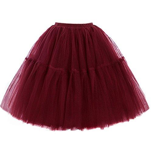 Tulle Mini Petticoat Skirt (FOLOBE Adult Ballet Tutu Layered Organza Lace Mini Skirt Women's Princess Petticoat for Prom Party,Small / Medium,Darkred)