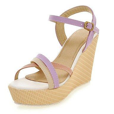 LvYuan Mujer-Tacón Cuña-Zapatos del club-Sandalias-Oficina y Trabajo Fiesta y Noche Vestido-Semicuero-Azul Rosa Morado Almendra Purple
