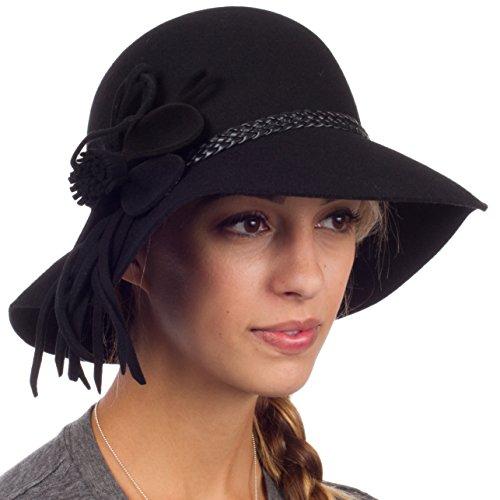Sakkas Gloria Vintage Style Wool Cloche Hat