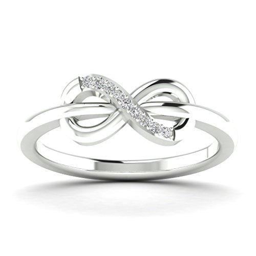 Fehu Jewel Women's 0.05ct Natural Diamond Infinity Ring, Fine Ring, Diamond Ring, 14k White Gold - Natural Diamond Mens Ring