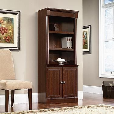 Sauder Palladia Library with Doors, Select Cherry - Bookcase Shelves Library