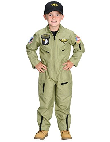 (Aeromax Jr. Fighter Pilot Suit with Embroidered Cap, Size)