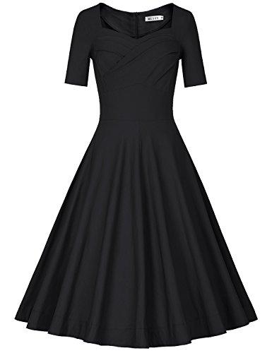 5537eddda81c MUXXN Women 1950s Vintage Retro Short Sleeve Party Swing Dress(S,Black1)