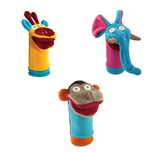 Cate and Levi Zoo Friends Puppets-Set of 3 Monkey, Giraffe and Elephant (100% USA Polar Fleece) (Cat Puppet Show Book)