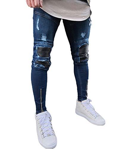 Suncaya Hombres Pantalones Ajustados Ripeado Motocicleta Denim Vintage Pantalones Hip Hop 1827