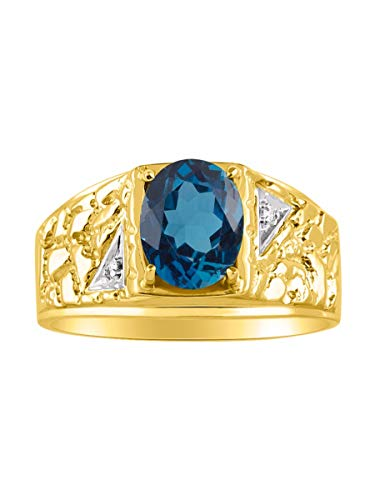 (Mens Classic Oval London Blue Topaz & Diamond Ring Set in Sterling Silver or 14K Yellow Gold Plated Silver .925 December Birthstone Color Stone Nugget Ring Sizes 8,9,10,11,12)