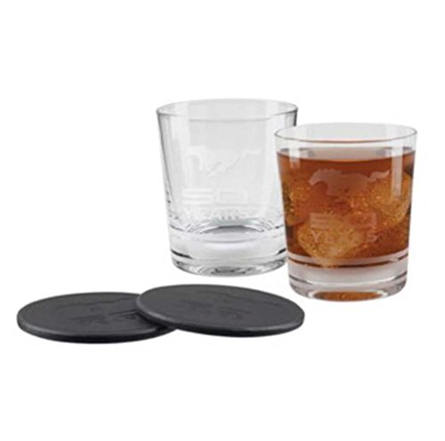 Ford Mustang 50 Years Logo Glass Tumbler Gift Set - - Glasses Ford