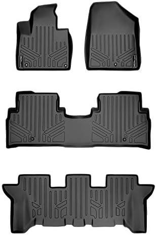 SMARTLINER Custom Fit Floor Mats 3 Row Liner Set Black for 2016-2020 Kia Sorento 7 Passenger Model Only
