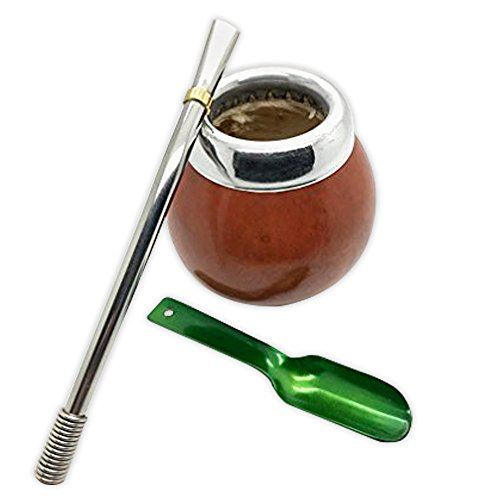 Handmade Mate Gourd Set Including Straw (Bombilla) and Spoon by Gaucho-Market (Image #1)