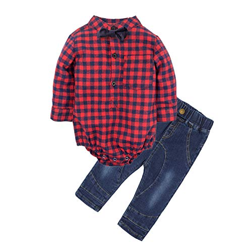 BIG ELEPHANT Baby Boys' 2 Piece Jeans Shirt Clothing Set with Bowtie (6-12 Months) G24