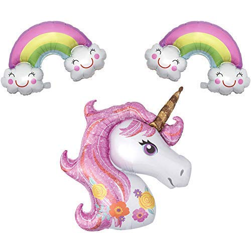 Unicorn and Pastel Rainbow Cloud Balloons - Pack of 3, Large | Cute Mylar Balloons Decorations Supplies | Great for Unicorn Themed Birthday Party Favors, Baby Bridal Shower Backdrop, Home Office Decor