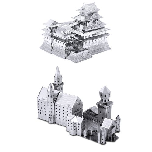 Set of 2 Metal Earth 3D Laser Cut Models: Neuschwanstein Castle & Himeji Castle