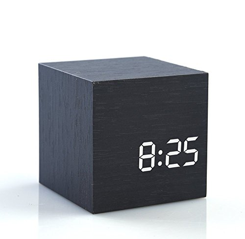 HI-BOOM Cube Wood LED Alarm Clock - Time Temperature Date - Sound Control