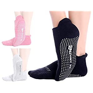 Non-Slip Socks Yoga Barre Pilates Hospital Maternity Sock w/Grips For Women Men