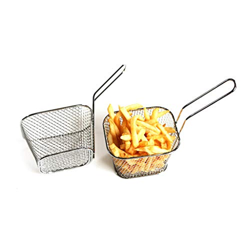 Quaanti Chips Fry Baskets,Stainless Steel Deep Fry Basket Wire Mesh Fruit Strainer with Long Handle Frying Cooking Tool Tableware Serving Food Presentation Cooking Tool French Fries Basket (L)