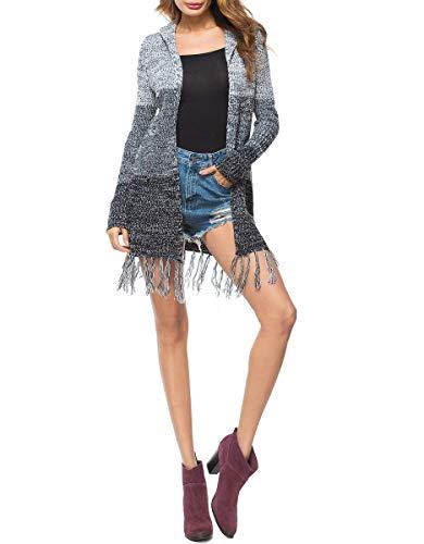 Lunga Lunghi Incappucciato Pullover Comodo Fashion Cappotto Primaverile Maglia Qk lannister Tassels Vintage Nero Donna Manica Elegante Giacca Abbigliamento A Tempo Libero Autunno nXXRH76