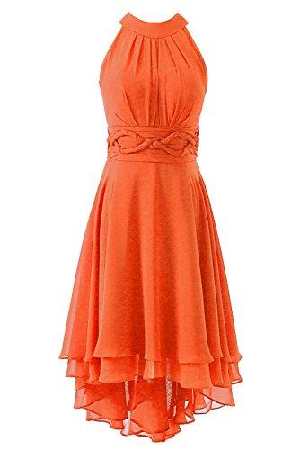 Orange Homecoming Dresses (DYS Women's Short Bridesmaid Dresses Hi Lo Prom Homecoming Dress Chiffon Orange US 16)