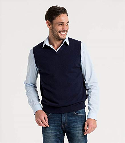 Mérinos Sans Manches Cachemire Pull Homme Wool Navy Overs tEYqww