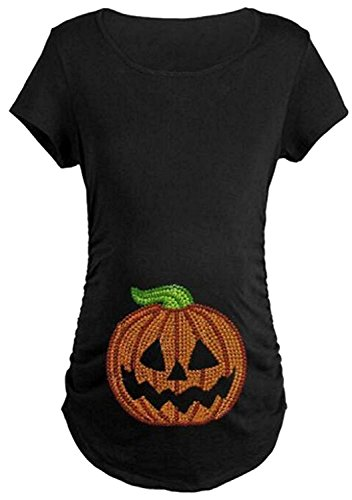 Maternity Halloween Pumpkin Print Short Sleeve Pregnancy Tee for Women size XL/US XXL(Black) - Halloween Maternity Shirt