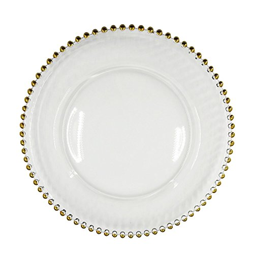 Excellent Designs Charger Plates Gold Beads Clear Glass Charger Plates Set of 8, and Beautiful Gold Wedding Plate Chargers