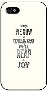 "iPhone 6 (4.7"") Though we sow in tears we'll reap in joy - Bible verse black plastic case / Christian Verses"