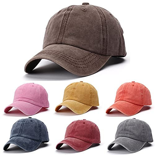 Balakie Kids Baseball Hat Cap Unisex Sun Hat Toddler Baby Boys Girls Solid Color Washed Low Profile Hats Age for 2-8Years Yellow