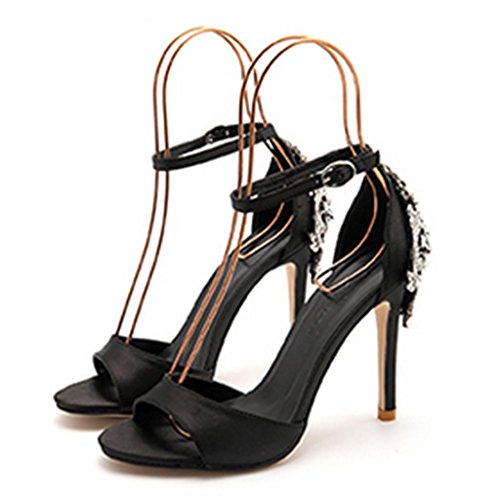 HETAO Personality Women Sandals Rhinestones Wedding Bridal Evening Party Crystal Glitter Gorgeous High Heels Shoes Girl's Gift Black Swlw0O1