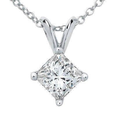 Diamond Pendant Necklace (IGI Certified PARIKHS Princess Cut Diamond Solitaire Pendant Plus Quality in 14k White Gold (1.10 ctw, I J K color, I3-I4 clarity))