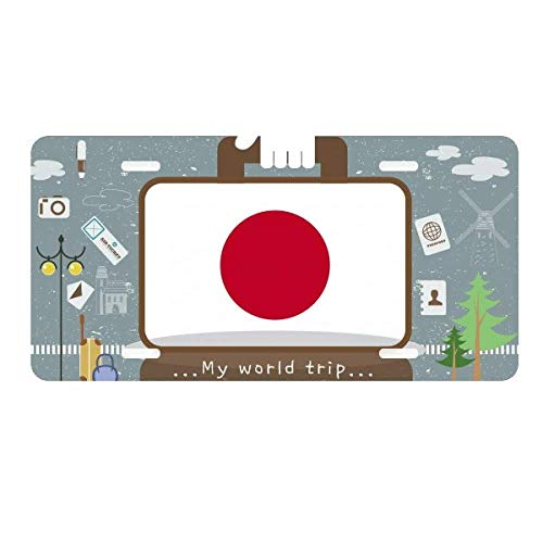DIYthinker Japan National Flag Asia Country License Plate Car Decoration Tin Sign Travel (National Japan Stainless)