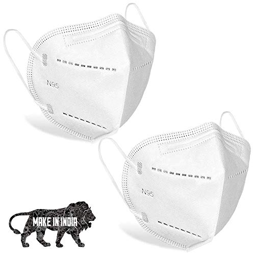 DALUCI Nonwoven Fabric Reuseable Mask (White, Without Valve, Pack of 2) for Unisex