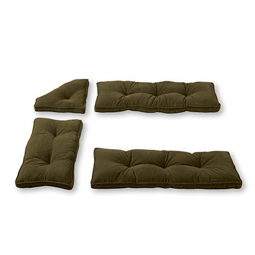 Kitchen Cushion Nook Set - Greendale Home Fashions Cherokee Solid Microfiber Nook Cushion Set, Sage Green, Pack of 4
