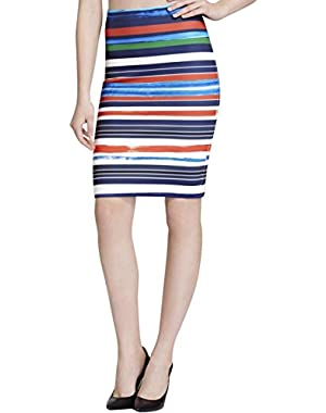 Womens Striped Knee-Lenght Pencil Skirt