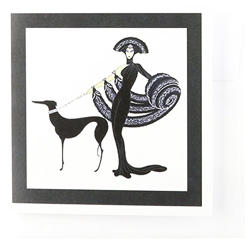 3dRose Art Deco Lady With Dog - Greeting Cards, 6 x 6 inches, set of 6 (gc_43794_1)