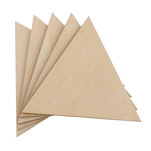 Homyl 1/9 Inch Thick Unfinished Blank Wooden Triangle Shaped Slices Embellishments for DIY Scrapbooking Craft Pieces - 100mm