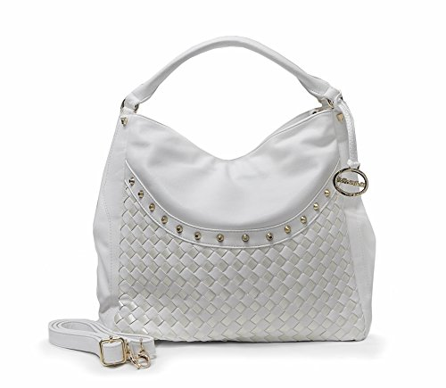Sorrentino Women's Handbag No. 728 Weaved Hobo (White)