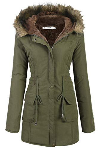 Beyove Womens Military Hooded Warm Winter Faux Fur Lined Parkas Anroaks Long Coats ()