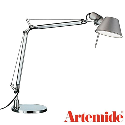 Tolomeo Classic Led (Artemide TOLOMEO Mini Table Lamp Aluminium Light Grey A005910 + Base 7.87 inch A008600 Design Italy 1987)