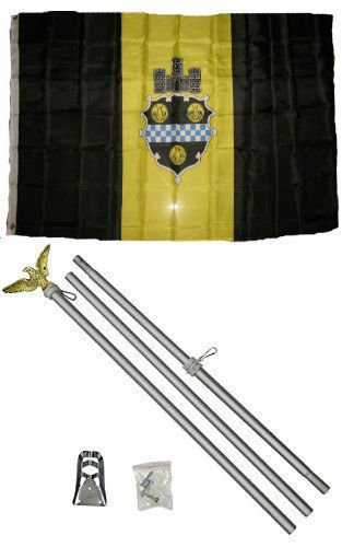 City Flag Pittsburgh (ALBATROS 3 ft x 5 ft City of Pittsburgh Pennsylvania Flag Aluminum with Pole Kit Set for Home and Parades, Official Party, All Weather Indoors Outdoors)