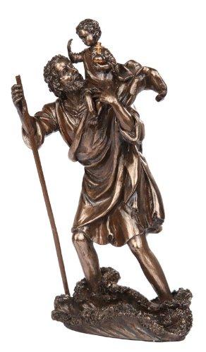 - 10 Inch Saint Christopher with Child Bronze Finish Statue Figurine