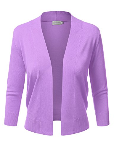 JJ Perfection Women's Basic 3/4 Sleeve Open Front Cropped Cardigan Purple S