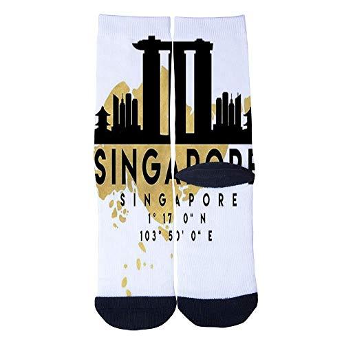 Eletina lee Men S Women S Custom Singapore Skyline Map Socks 3D Print Novel Creative Casual Crew Socks -