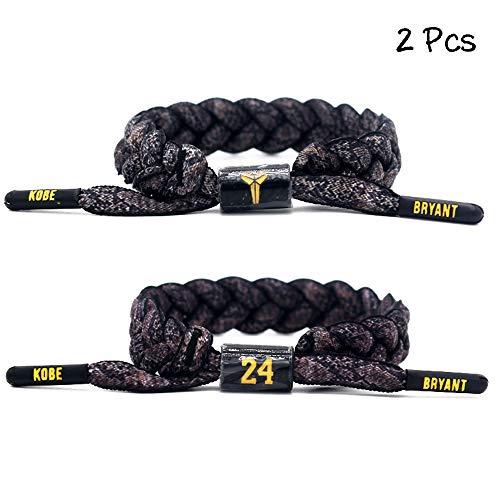 FANwenfeng Basketball Team Star Wristband Hand Weave Adjustable Shoelace Bracelet (② Kobe)