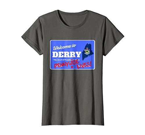 Womens Welcome to Derry Maine It Is Halloween Graphic T-Shirt Small Asphalt for $<!--$19.99-->