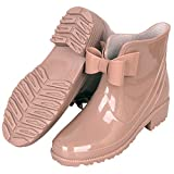YOOEEN Womens Rain Boots Short Rubber Boot Waterproof Work Garden Shoes Anti-Slip Outdoor Ankle Wellies, Beige, 6 M US