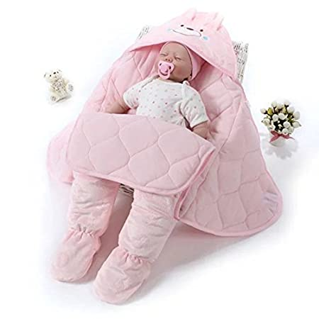 Cute Newborn Child Swaddle Sleeping Bag Soft Cotton Baby Outdoor Blankets Toddler Feet Sleeping Bag, Suitable for 0-15 Months Baby Boys Girls(Pink) Sealive sealiveB010026003
