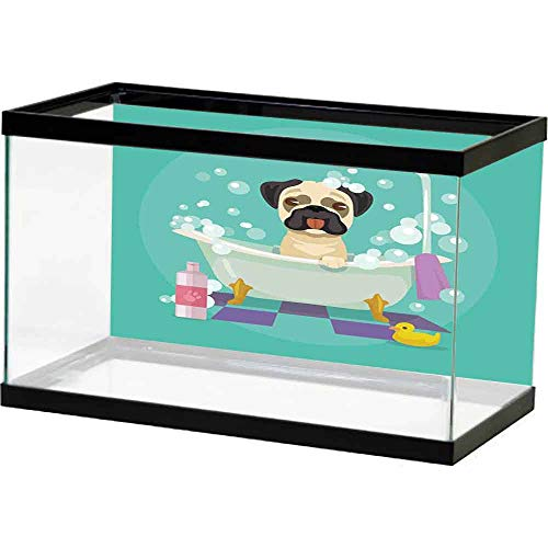 homecoco Pictures Underwater Backdrop Nursery,Pug Dog in Bathtub Grooming Salon Service Shampoo Rubber Duck Pets in Cartoon Style Image,Teal Easy Paste