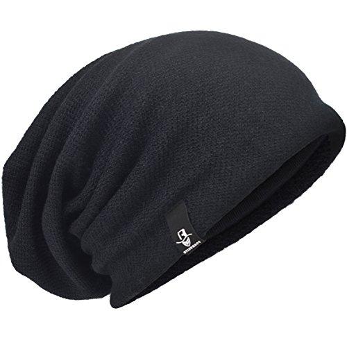 HISSHE - Gorro de Punto - para Hombre Knit-Black