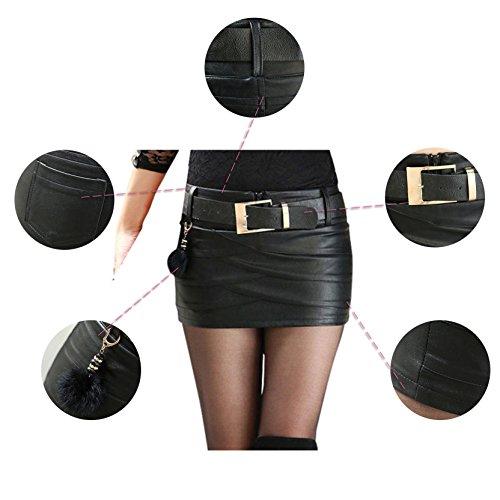 Femmes avec Jupe pour 2 Taille Le Le Taille glissire Jupe en Fermeture Noire ou Style Noir fte Bureau Mini Occasionnel Cuir Haute Haute PU de rt6twqX