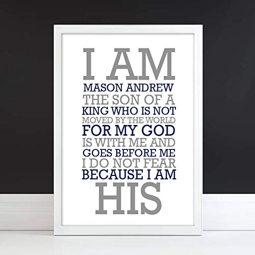I am His Paper Art Print | Girl or Boy | Choose Colors & Frame | Personalized Baby Gift | Personalized Baptism Gift | Bible Verse Gift | Religious Gift | Christening Present | First Communion